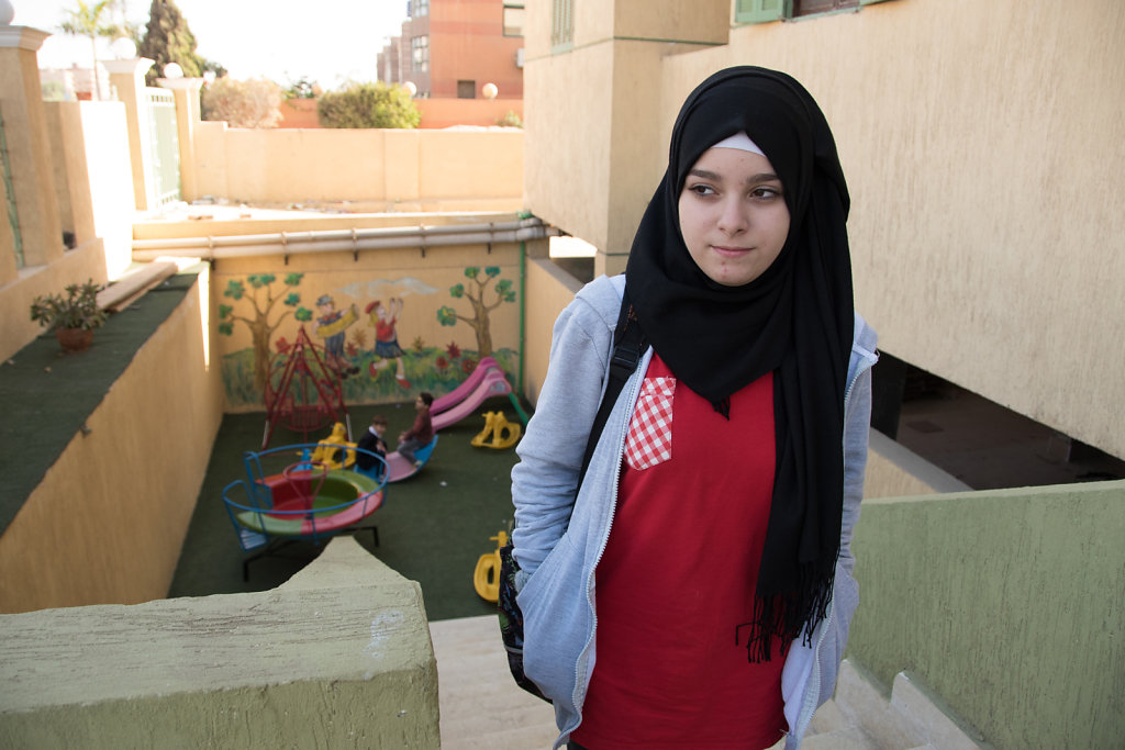 Leena started going to a Syrian school this year, but says that she's still adapting to the new classes. The school is also in 6th of October City.